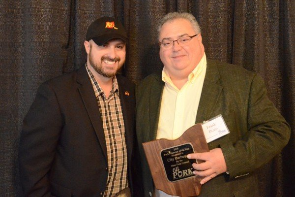 Frank Pizzo accepted an award for City Barbecue for Pork Promoter of the Year presented by Ty Higgins.