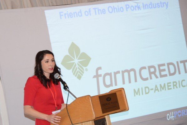 Jess Campbell accepted the Friend of the Ohio Pork Industry award for Farm Credit Mid-America.