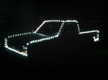 The Danger Ranger adorned with Christmas lights for a more festive approach to the holidays.