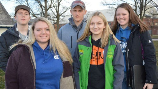 Members of the Miami East-MVCTC FFA General Livestock Team were (L to R) Adam Bensman, Kylie Blair, Jarrett Winner, Paige Pence, and Lauren Wright