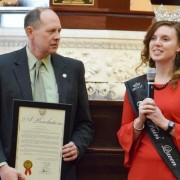 Morgan McCutcheon was presented with a resolution from Senator Jay Hottinger at the Statehouse.