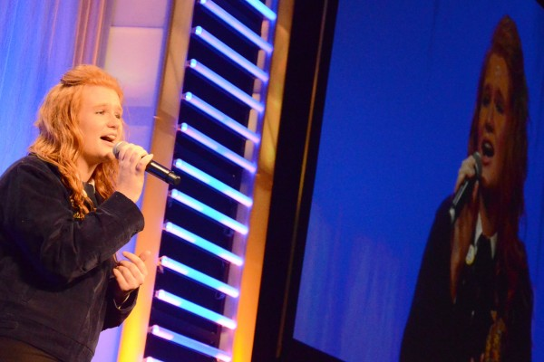 Megan Drake of the United FFA Chapter entertains the crowd in the first session.
