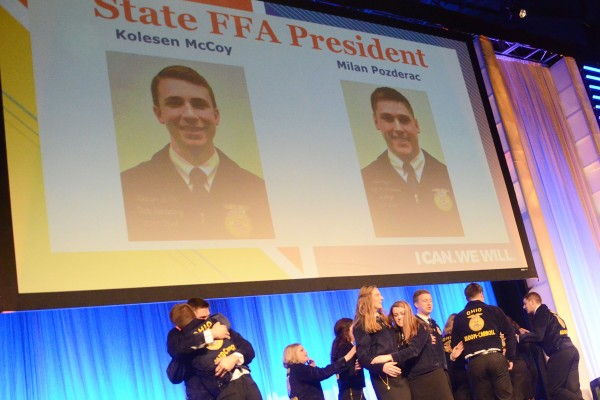 The new State Officer Candidates were announced in the first session. They are State FFA Sentinel: Austin Becker and Mallory Caudill State FFA Reporter: Bailey Eberhart and Tyler Zimpfer State FFA Treasurer: Kalyn Strahley and Grace Lach State FFA Secretary: Grant Lach and Gretchen Lee State FFA Vice President: Emma Dearth and Holly McClay State FFA President: Kolesen McCoy and Milan Pozderac