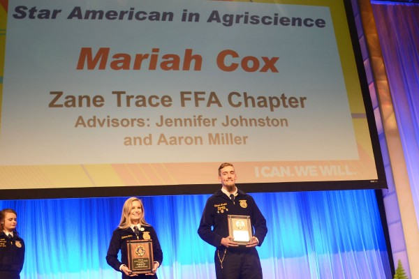 Mariah Cox, Miami Trace, and Michael Anadell, Firelands are the Star American in Agricultural Placement.