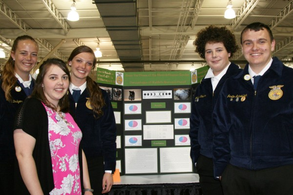 Agriscience participant Jacob Hawkes with his fellow FFA members Marcy Dudgeon, Darby Minor, Justin Schobech, and their FFA teacher Miss. Moorman