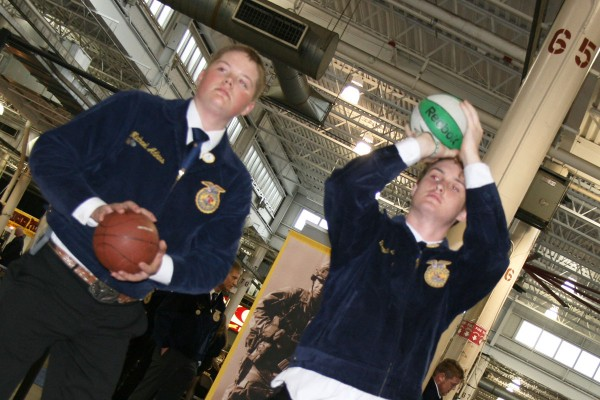 Michael Adkins from the Oak Hill FFA Chapter and Gavin Shadle from the River Valley FFA chapter enjoying some basketball