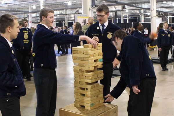 Riverdale FFA members playing Jenga at the US Army booth
